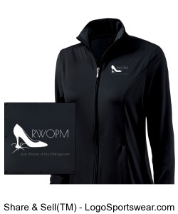 Black Women's Jacket with White RWOPM logo front Design Zoom
