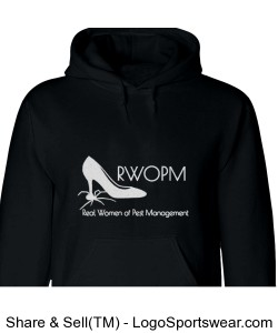 Larger size Black hoodie with White RWOPM Logo Design Zoom