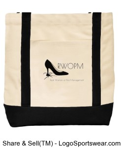 Tote with Black RWOPM logo front and back Design Zoom