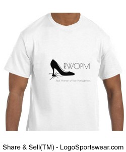 Mens White T shirt with Black RWOPM logo Design Zoom