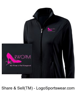 Black Women's Jacket with Pink RWOPM logo front Design Zoom